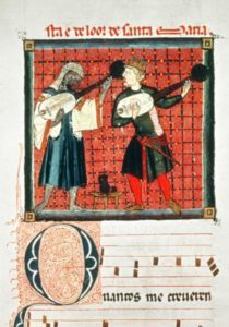 Ein Moslem und ein Christ spielen gemeinsam ein Lautenduett im 13. Jahrhundert in al-Andalus.