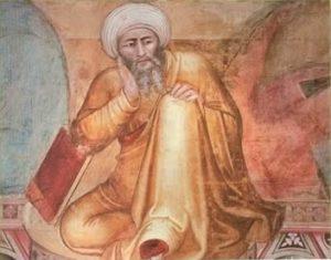 Averroës (Ausschnitt eines Gemäldes von Andrea Bonaiuto, 14. Jh.), (Public domain), via Wikimedia Commons