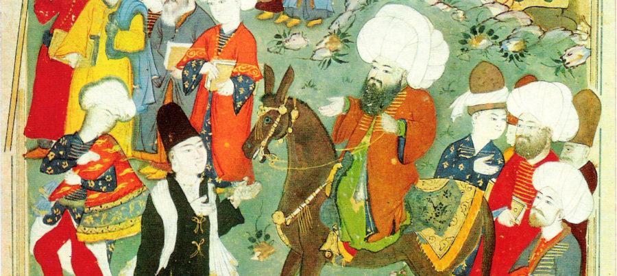 Erstes Zusammentreffen von Dschalal ad-Din ar-Rumi (reitend) und Schams-e Tabrizi (im dunklen Derwischgewand). Türkische Miniatur um 1600, Ausschnitt
